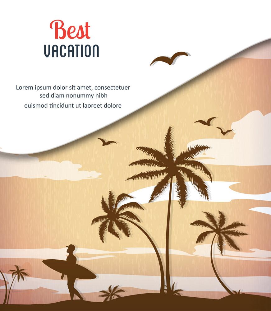 Summer Vector  Illustration With Palm Treem , Sunset, Bird, Sun,