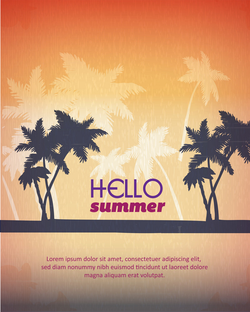 Summer Vector  Illustration With Palm Treem
