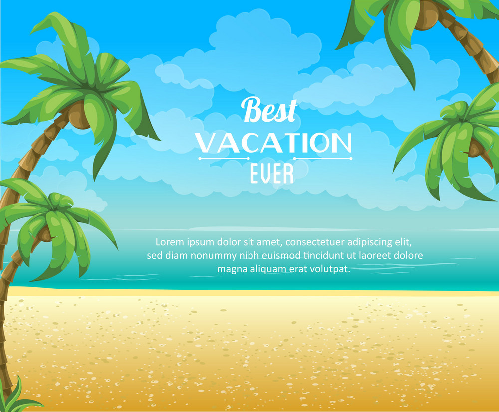 Summer Vector  Illustration With Palm Treem