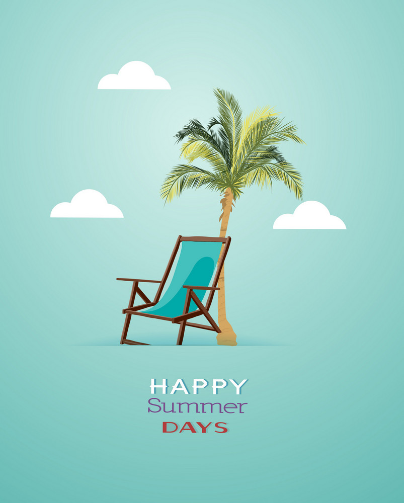 Summer Vector Illustration With Palm Trees, Clouds,chair