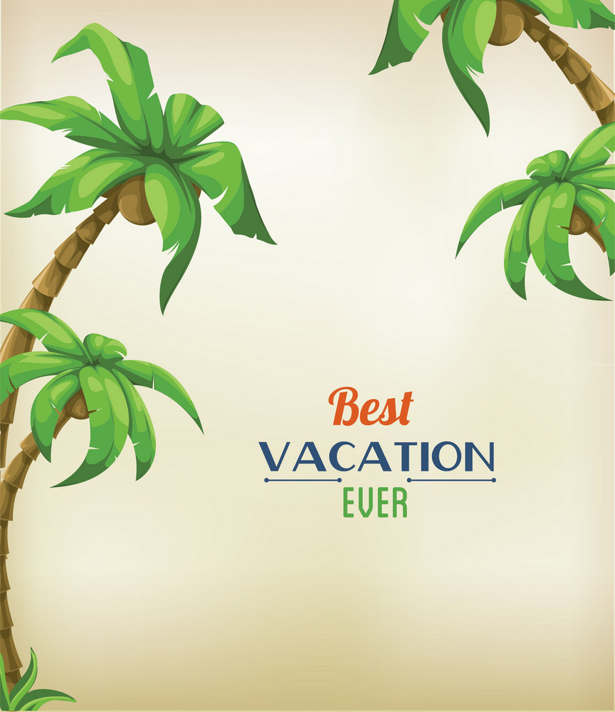 Summer Vector Illustration With Palm Trees