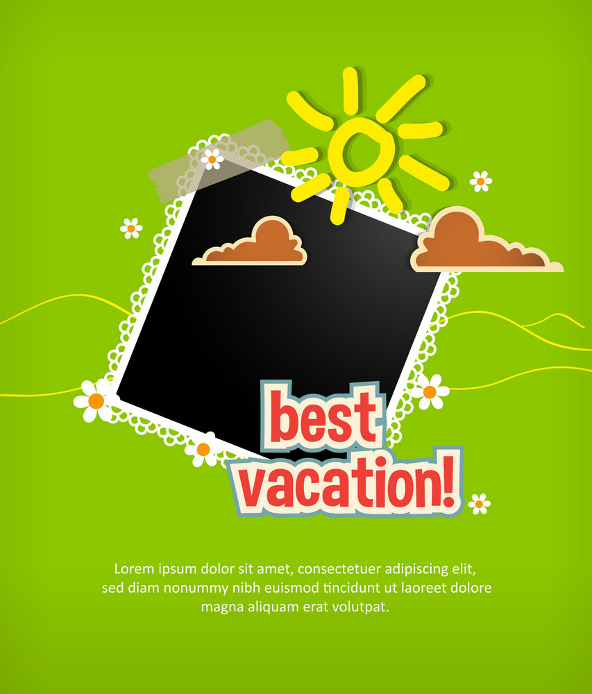 Summer Vector  Illustration With Photo Frame , Clouds,  Doodle Sun