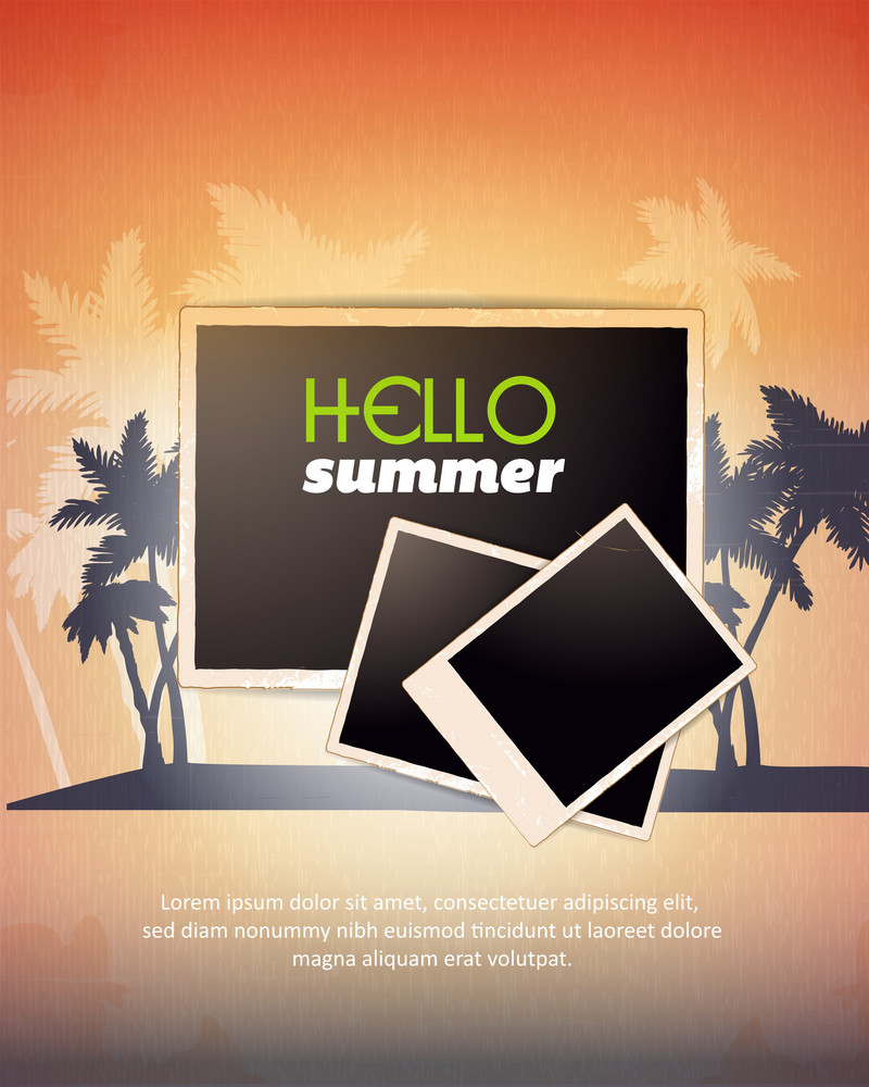 Summer Vector  Illustration With Photo Frame, Palm Tree