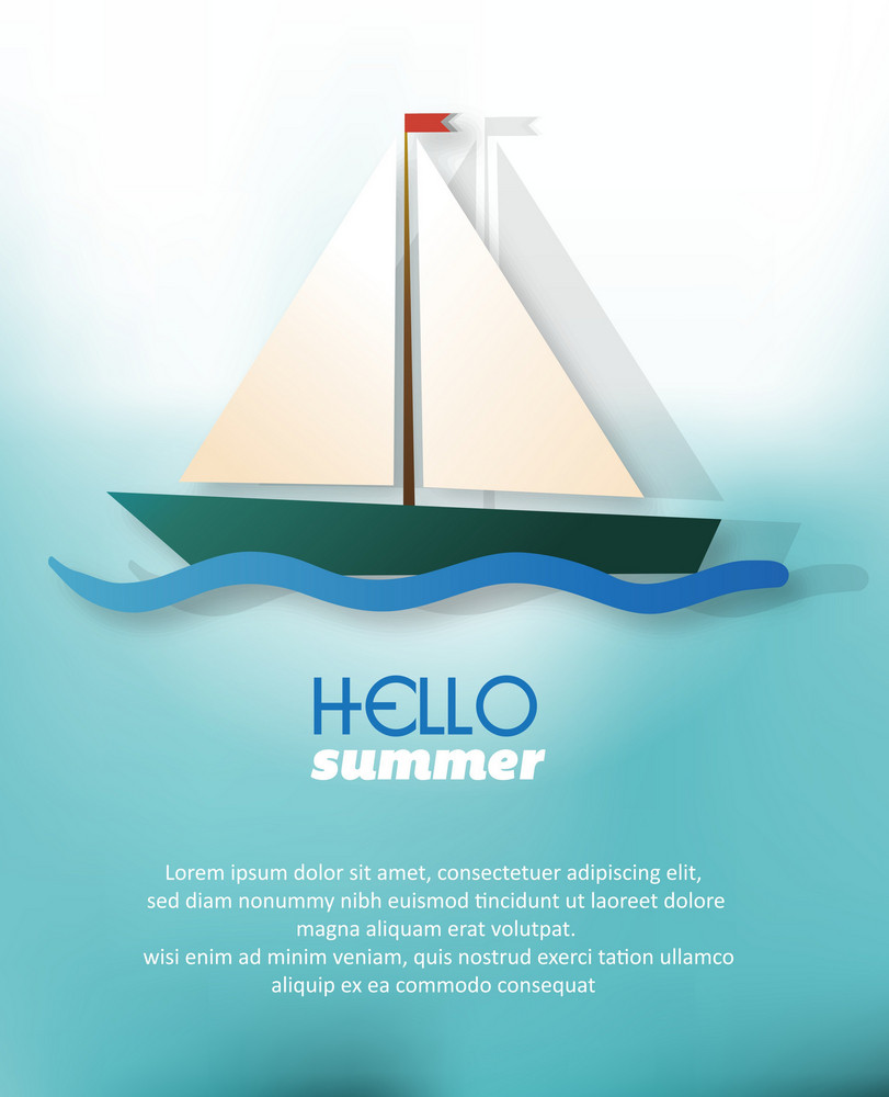 Summer Vector Illustration With Sailing Boat