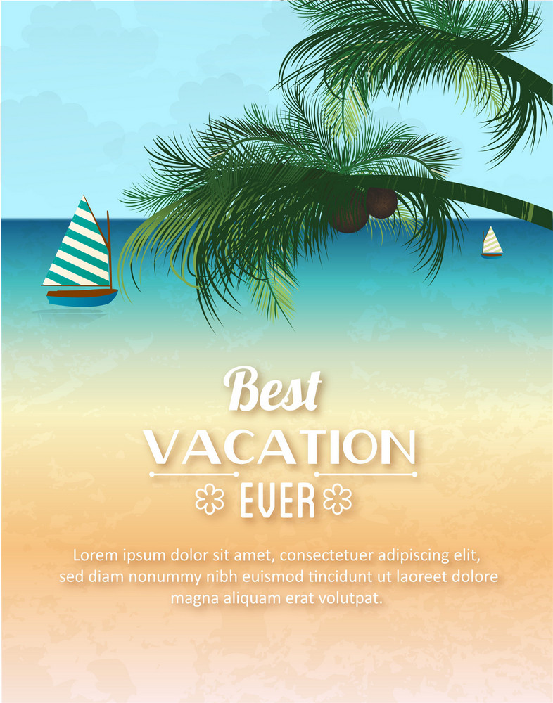 Summer Vector  Illustration With Sailing Ship And Palm Tree