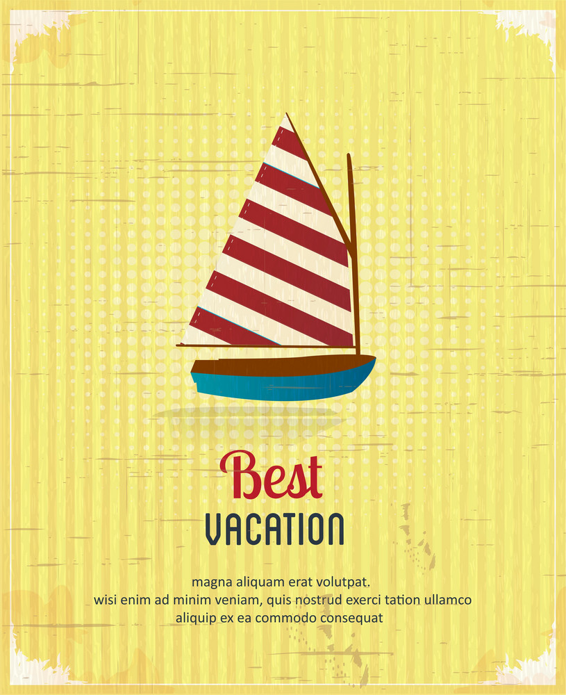 Summer Vector  Illustration With  Sailing Shop