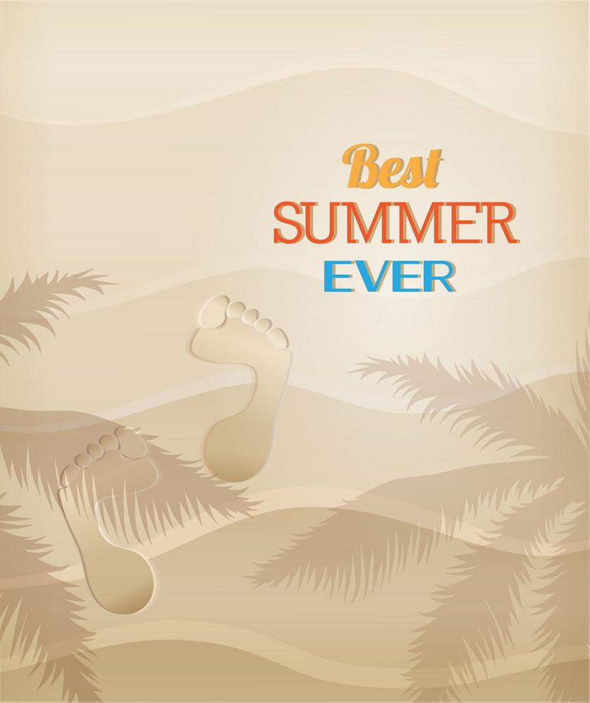 Summer Vector Illustration With Sand, Human Tracks