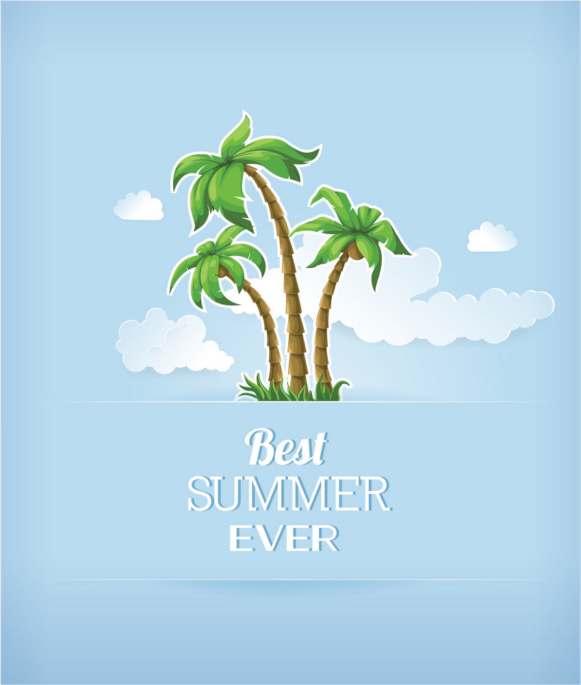 Summer Vector Illustration With Sea, Clouds, Sun, Palm Trees,island