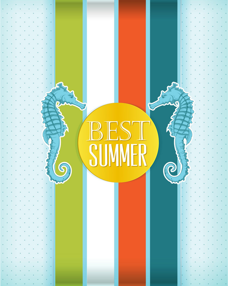Summer Vector Illustration With Sea Horse
