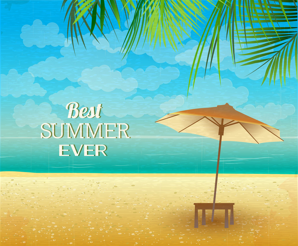 Summer Vector  Illustration With Sea, Sand, Palm Tree, Parasols