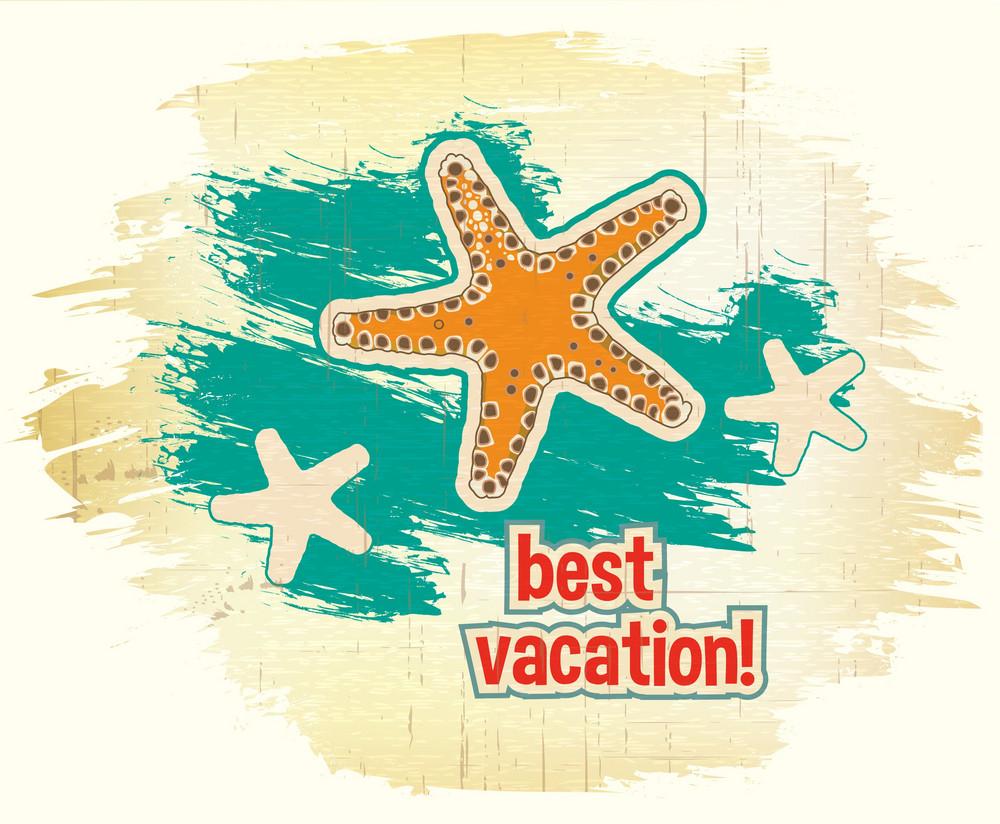 Summer Vector  Illustration With Sea Star
