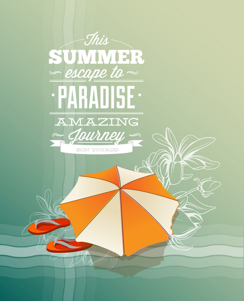 Summer Vector  Illustration With Slippers And Umbrella