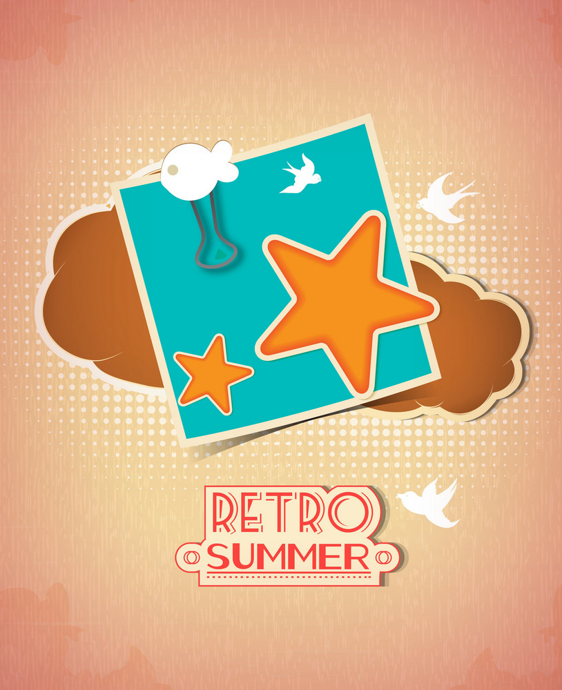 Summer Vector  Illustration With Star, Cloud And Post It