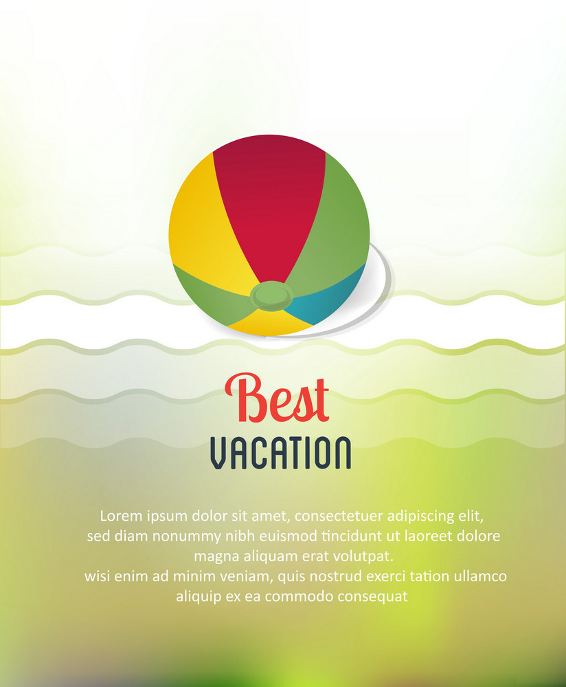 Summer Vector  Illustration With Sticker Ball, Waves