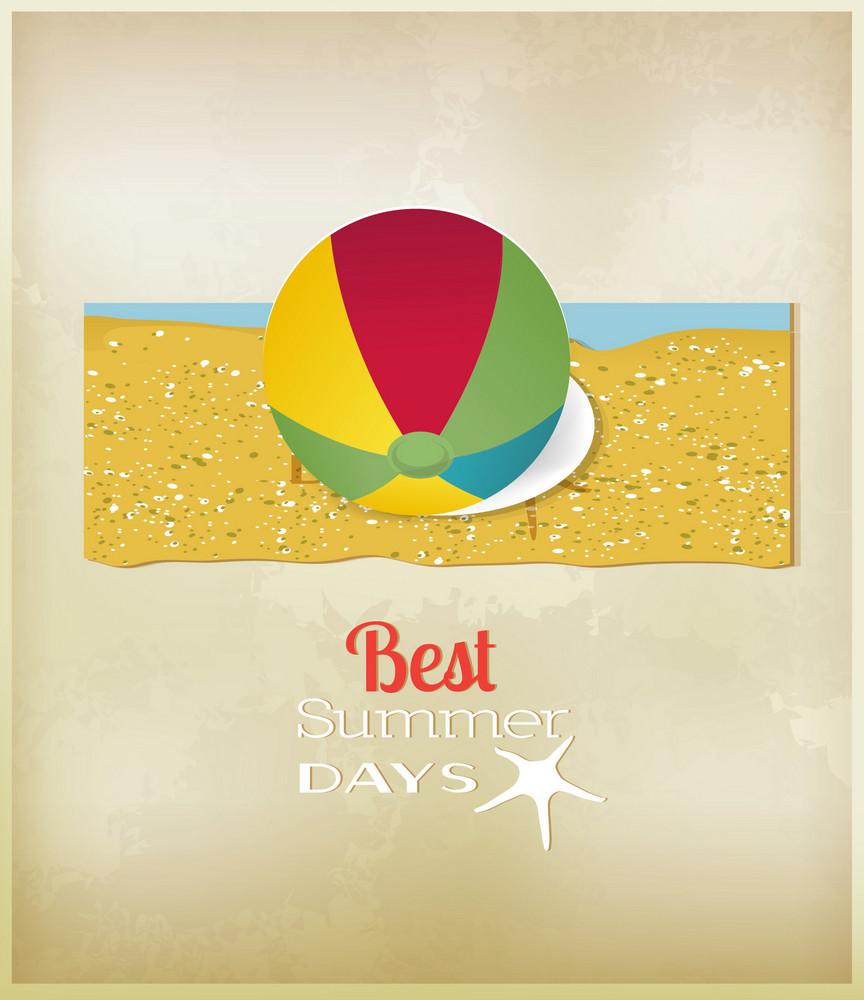 Summer Vector  Illustration With   Sticker Ball