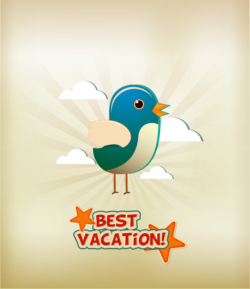 Summer Vector Illustration With Sticker Bird And Clouds
