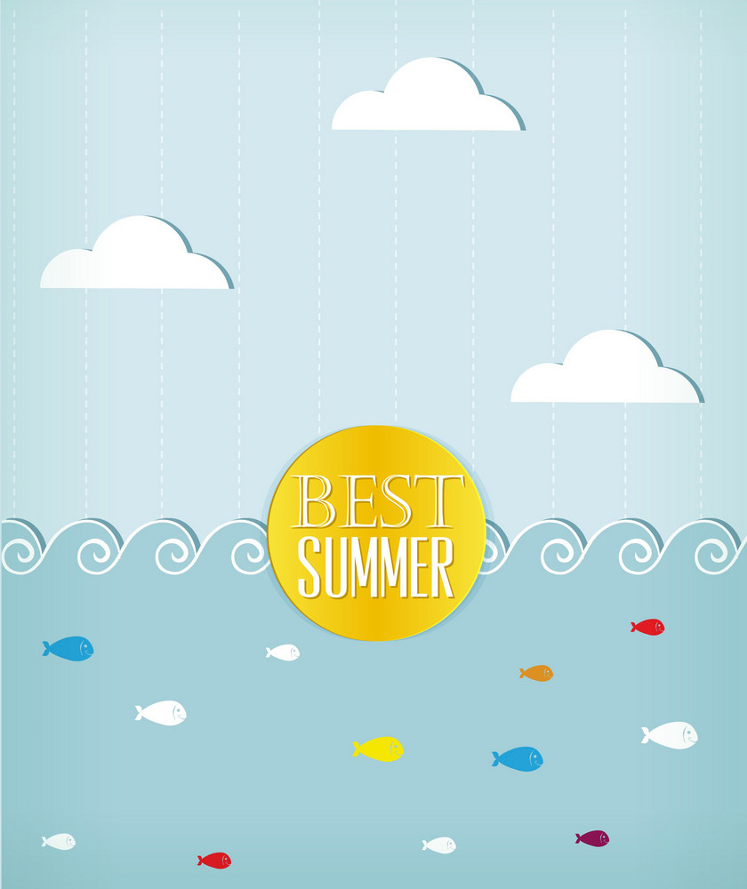 Summer Vector Illustration With Sticker Clouds, Sea And Fishes