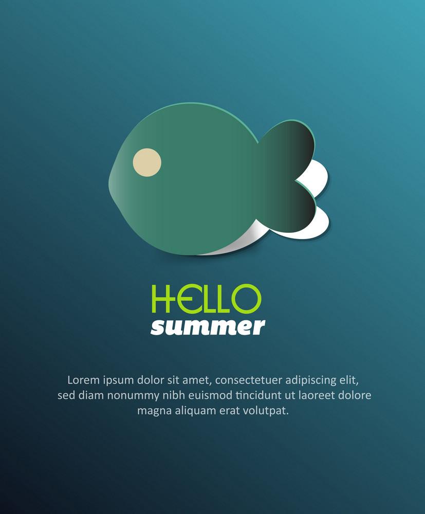 Summer Vector Illustration With Sticker, Fish