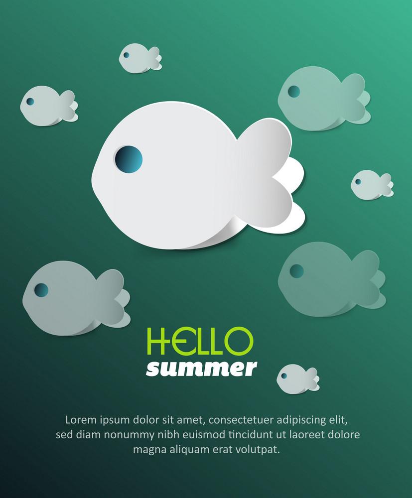 Summer Vector  Illustration With Sticker Fish