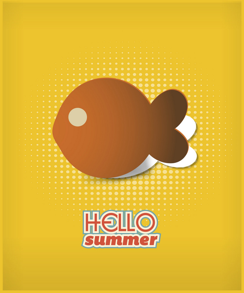 Summer Vector  Illustration With  Sticker Fish
