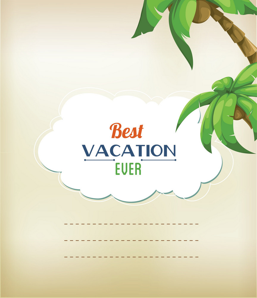 Summer Vector Illustration With Sticker Frame, Palm Tree