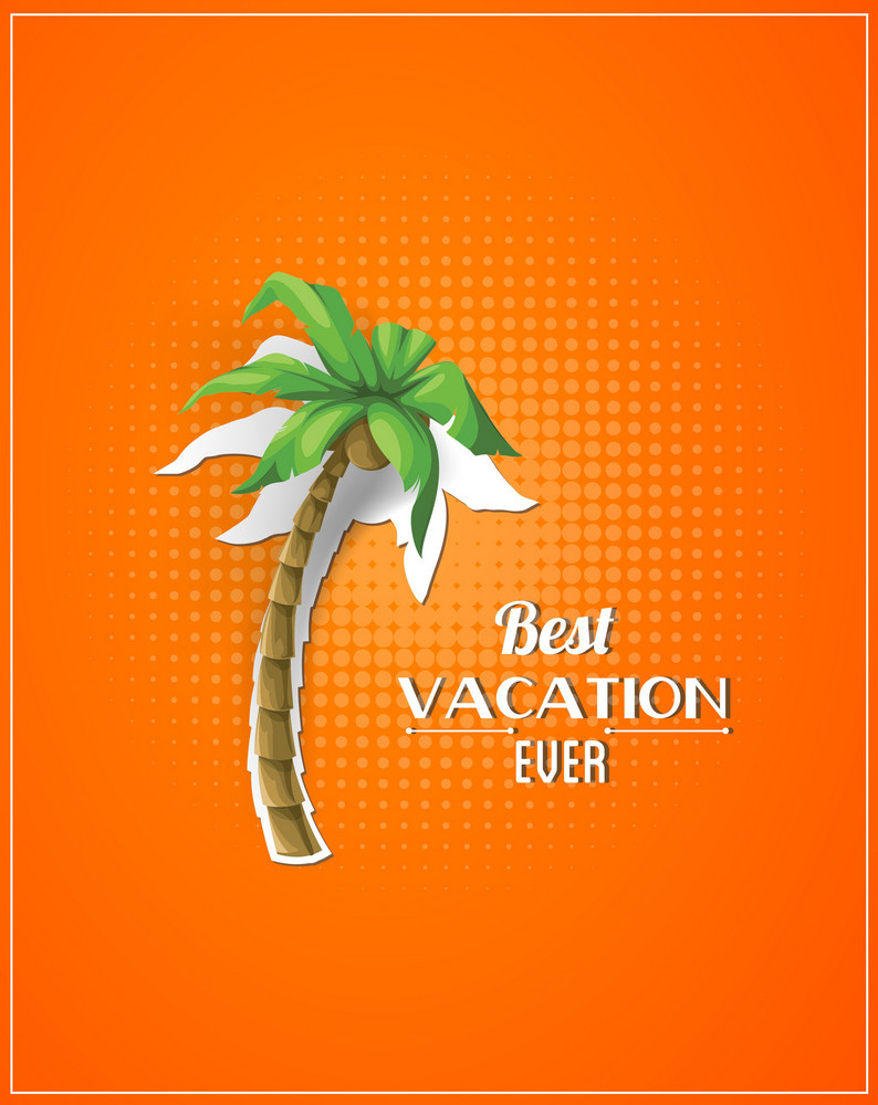 Summer Vector Illustration With Sticker Palm Tree