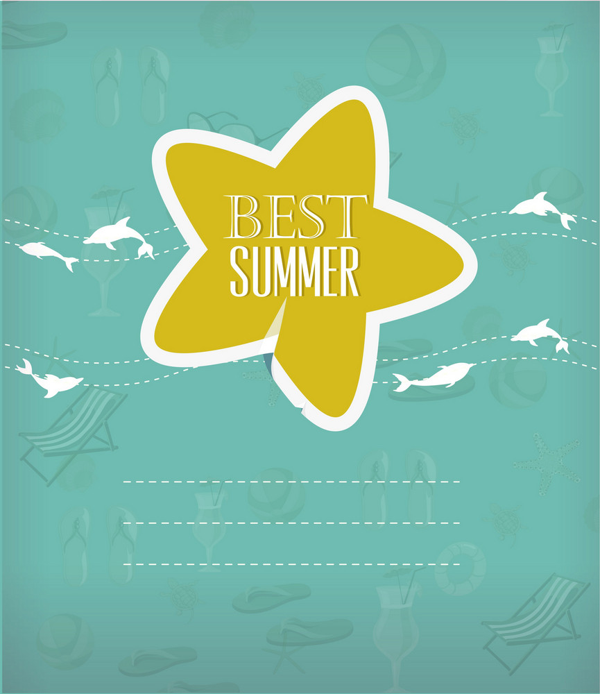 Summer Vector Illustration With Sticker Star And Dolphins