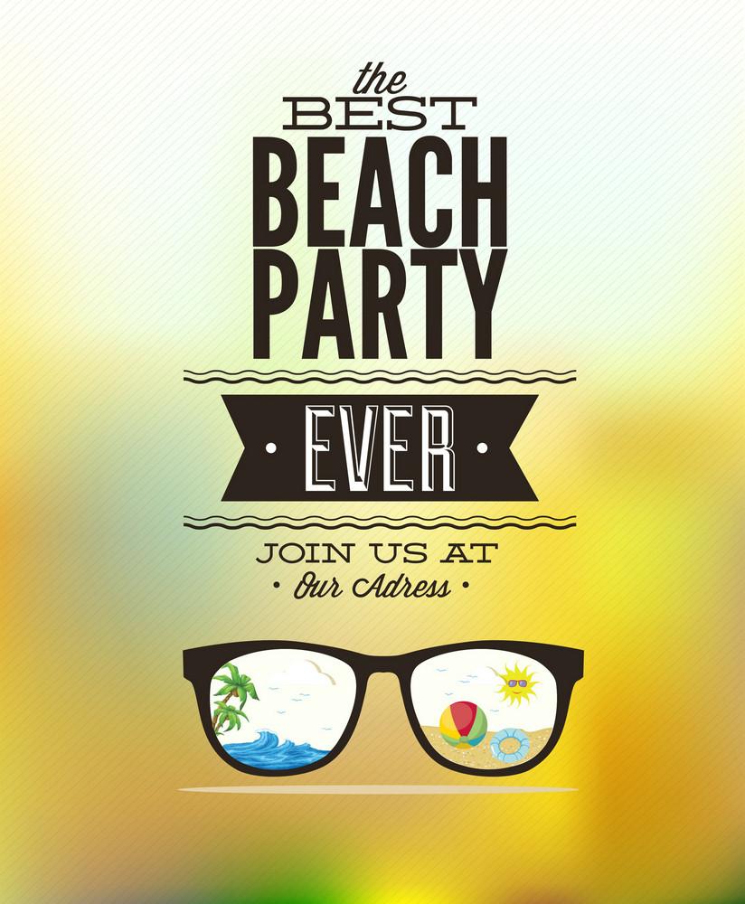 Summer Vector  Illustration With Sun Glasses, Palm Tree, Ball, Sun