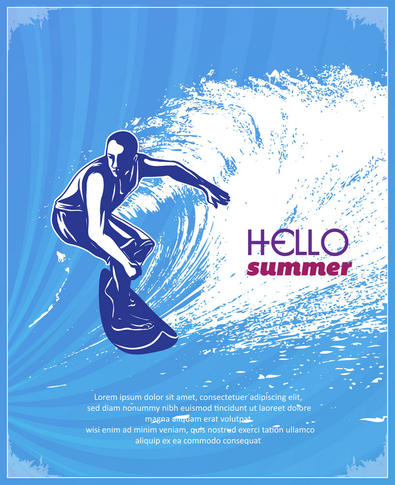 Summer Vector  Illustration With Surf Board, Waves, People,