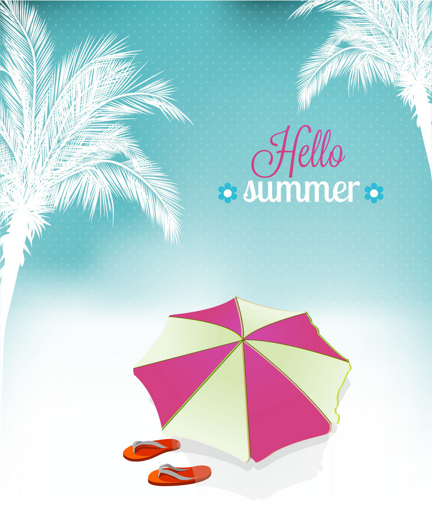 Summer Vector  Illustration With Umbrella, Palm Tree