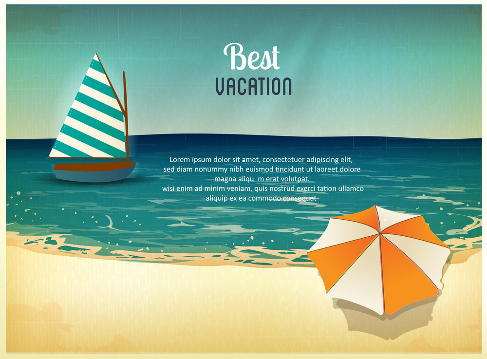 Summer Vector  Illustration With Umbrella, Sailing Ship