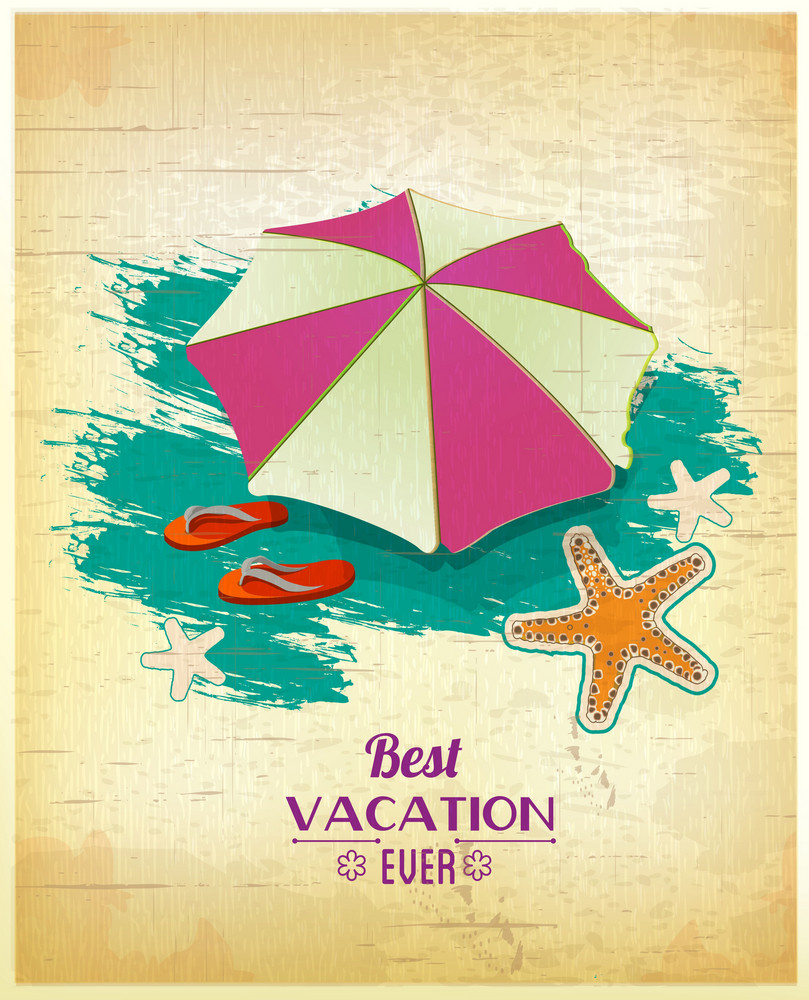 Summer Vector  Illustration With Umbrella, Sea Star