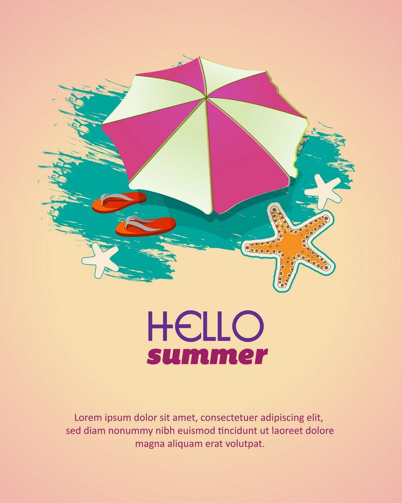 Summer Vector  Illustration With  Umbrella, Slippers, Sea Star