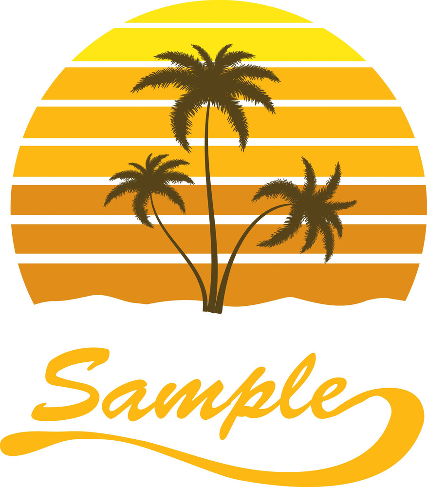 fabce7c88990 Summer Vector T-shirt Design With Palm Trees Royalty-Free Stock ...