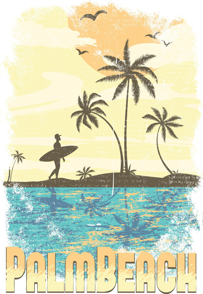 Summer Vector T-shirt Design With Surfer