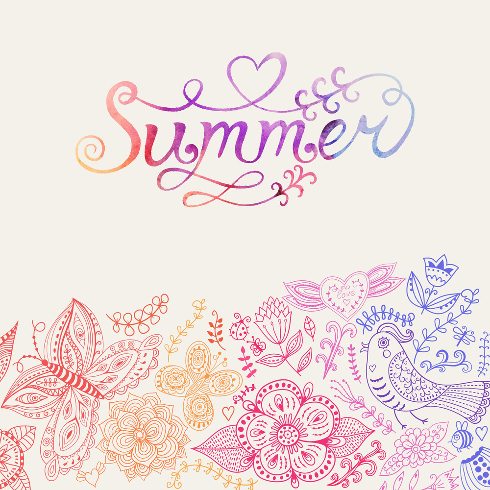Summer Vector Watercolor Lettering. Hand Drawn Watercolor Background