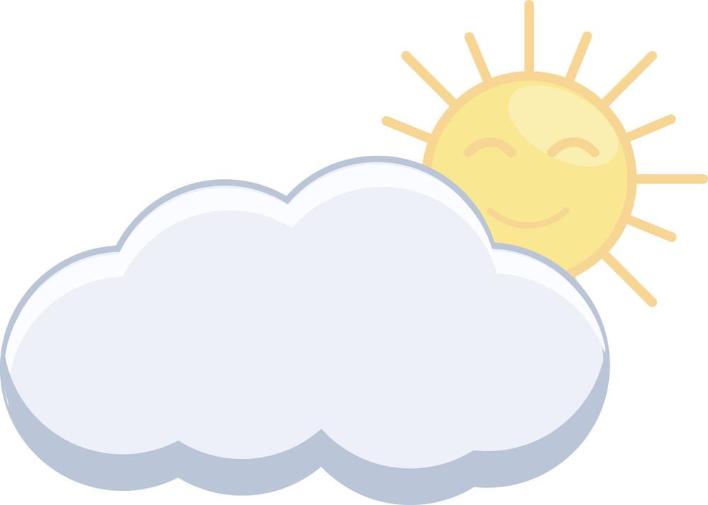 Sun And Cloud - Cartoon Vector