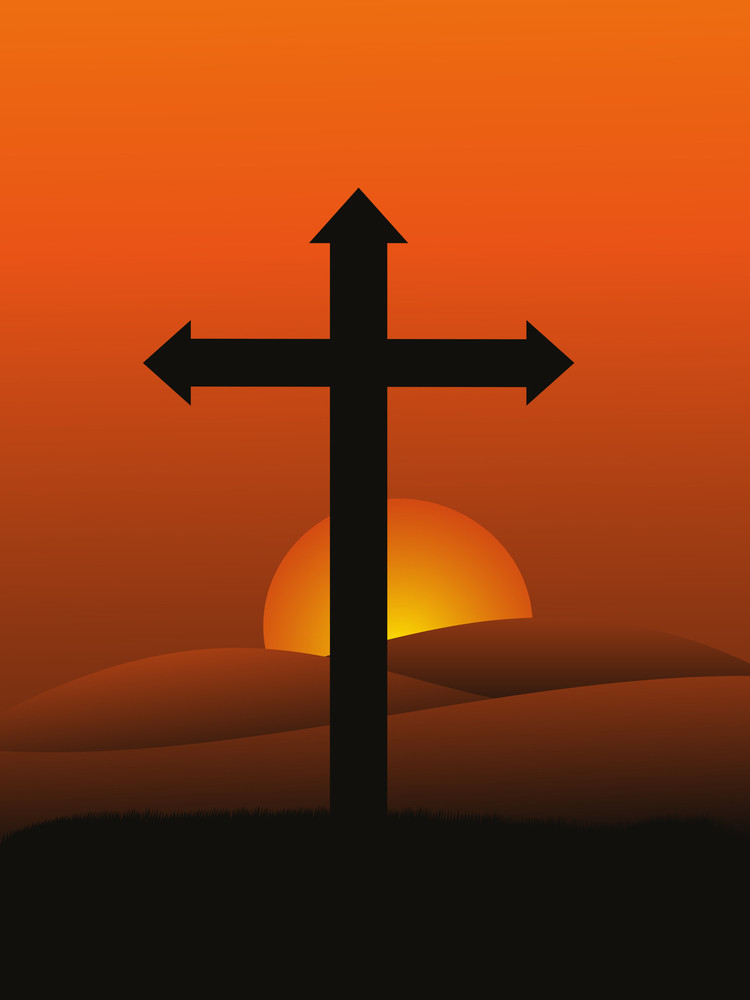 Sunset Background With Isolated Cross