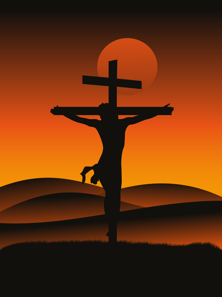 Sunset Background With Jesus On Cross