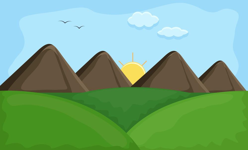 Sunset - Cartoon Background Vector