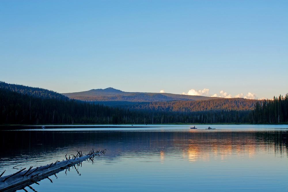 Sunset Lake With Fishermen