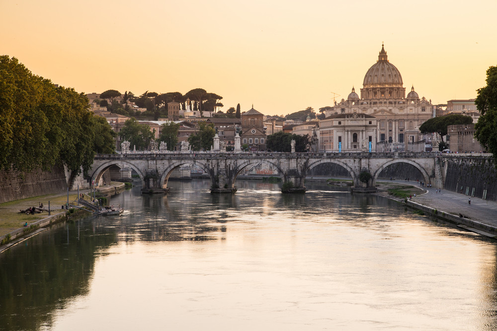 Sunset view at St. Peter's cathedral in Rome, Italy