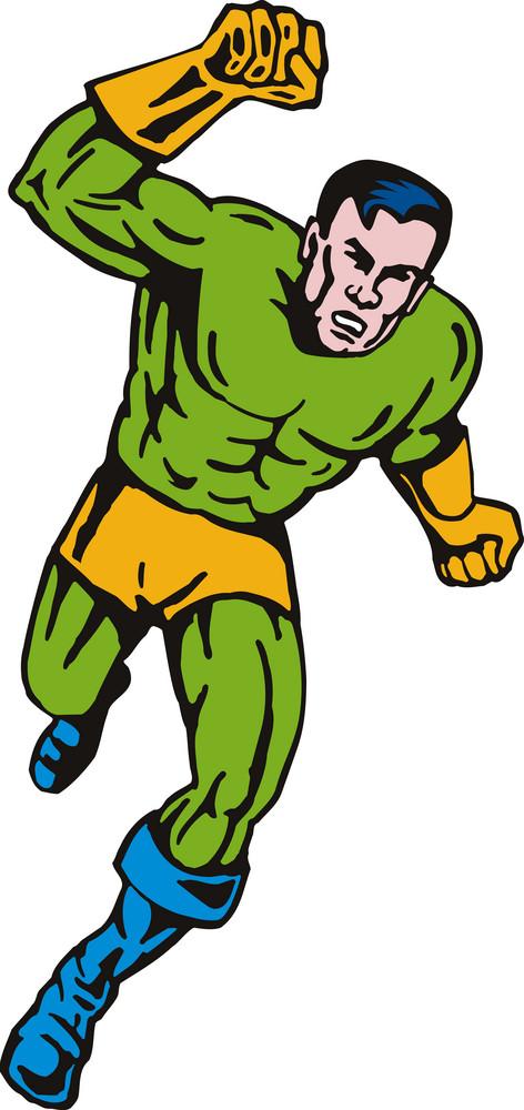Super Hero Running Fist Retro