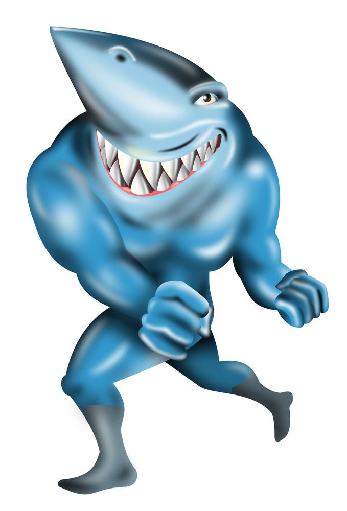 Super Hero Shark Running