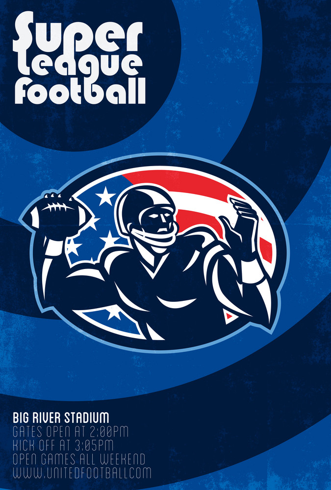Super League Football Quarterback Retro Poster