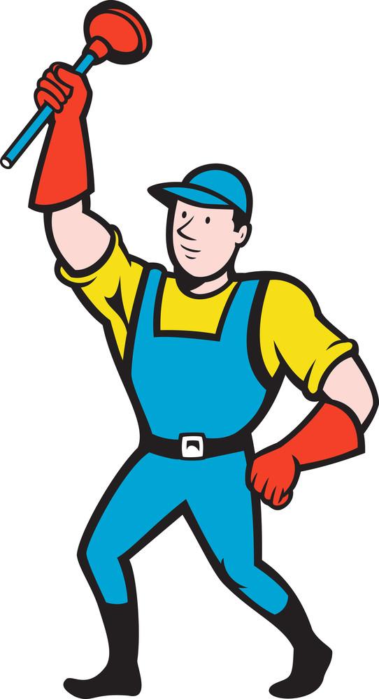 Super Plumber Wielding Plunger Cartoon