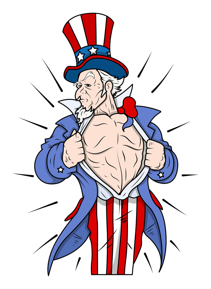 Superhero Uncle Sam Showing Chest 4th Of July Vector Illustration