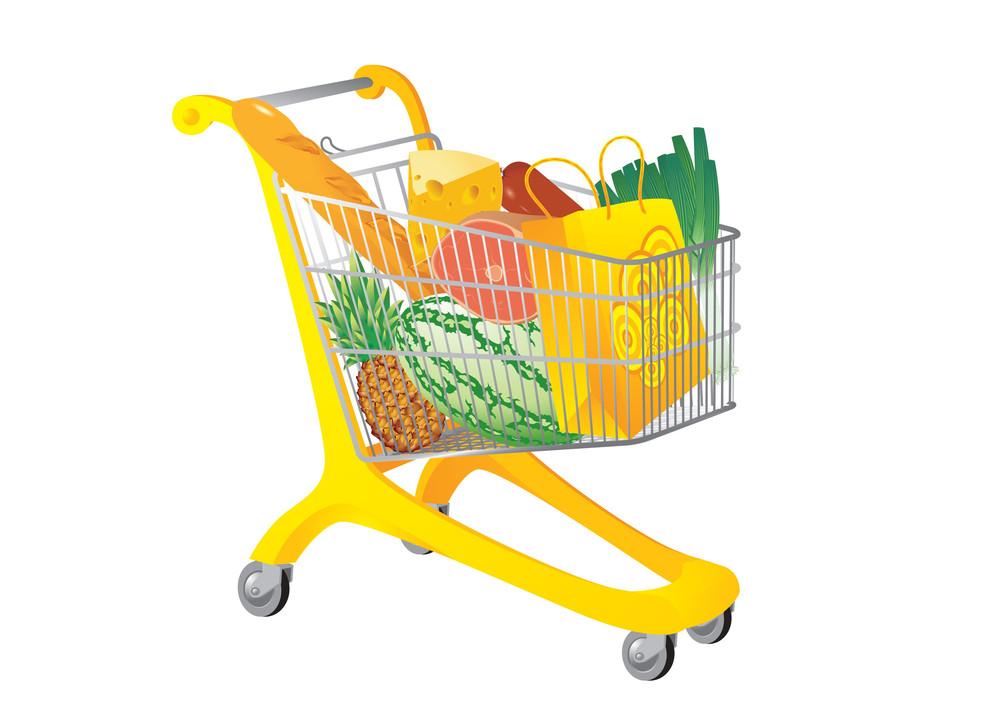 Supermarket Cart. Vector Illustration