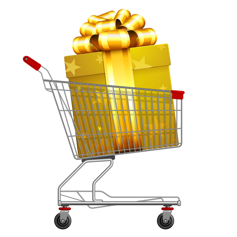 Supermarket Shopping Cart Full Of Holyday Gifts. Vector.