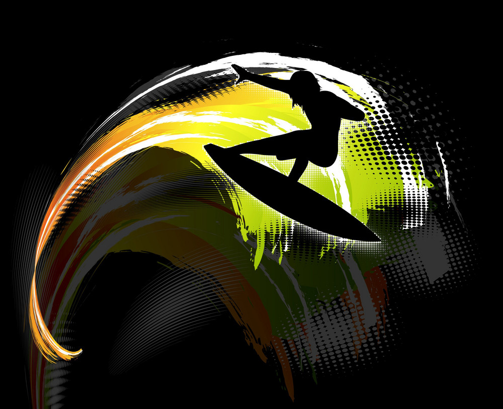 Surfer On Rainbow Wave Vector Illustration